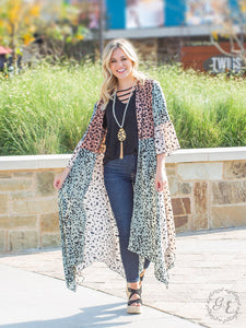 Leopard Duster, Cream/Mauve/Mint