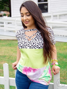 Caged Top, White Leopard and Neon Tie-dye