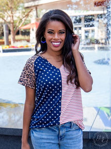 Stars and Stripes Top with Leopard