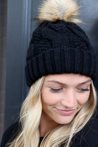 Beanie With Pom, Black