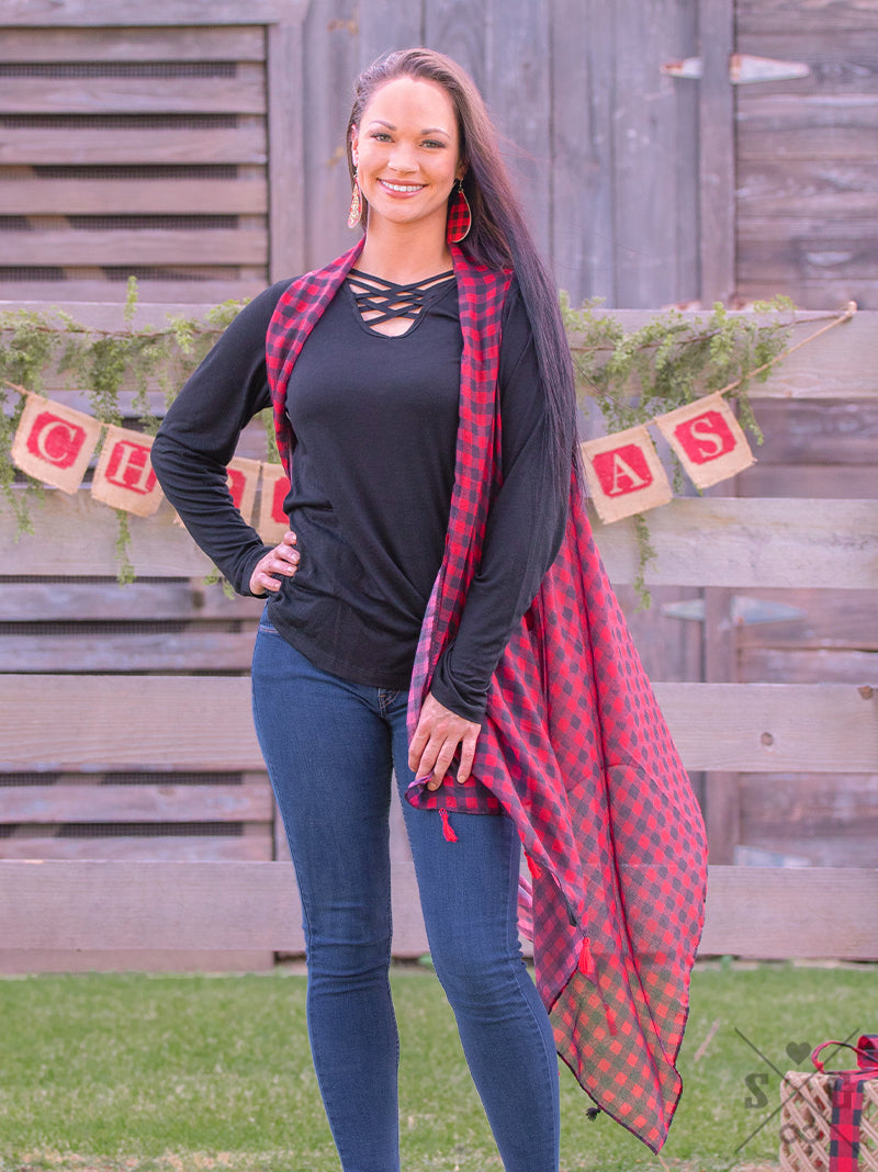 Red and Black Buffalo Plaid Vest with Tassels