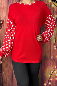 Red Top with White Polka Dot Sleeves