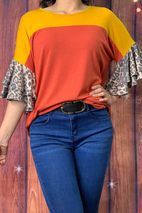 Leopard Color Block Top with Ruffle Sleeves