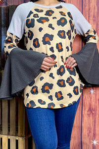 Leopard Color Block Blouse with Bell Sleeves