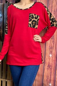 Long Sleeve Top with Leopard Print, Red