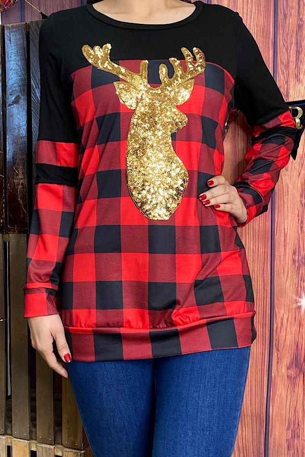 Buffalo Plaid Top with Gold Sequin Reindeer