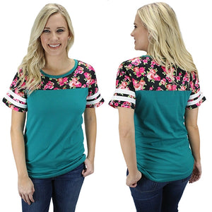 Floral Top with Stripes, Turquoise
