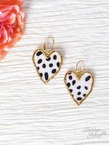 Heart Earrings, Dalmatian