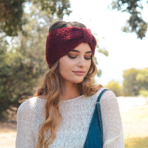Ultra Soft Mohair Bow Headband, Burgundy