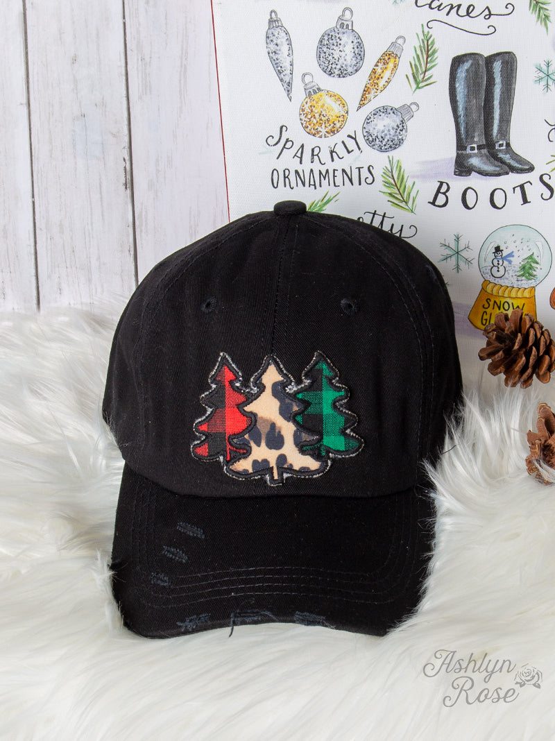 Plaid and Leopard Trees Hat, Black