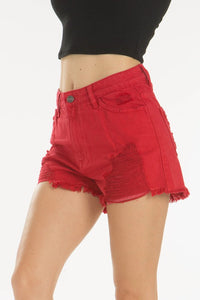 High Rise Shorts, Red