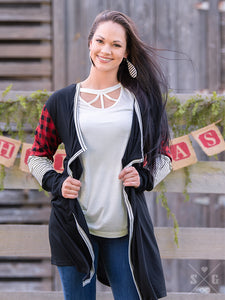 Cardigan with Buffalo Plaid and Stripe