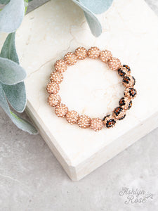 Drop of Glam Stretch Bracelet, Rose Gold Leopard