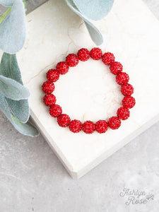 Drop of Glam Stretch Bracelet, Red