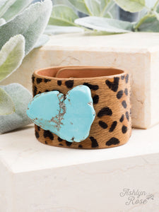 Perfect Pair Cuff Bracelet, Turquoise Stone & Leopard