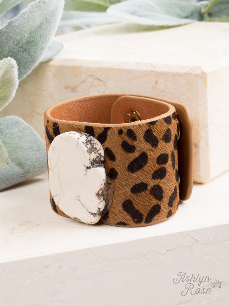 Perfect Pair Cuff Bracelet, White Stone and Leopard