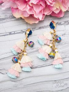 Ocean Blue Druzy & Pastel Tassels Earrings