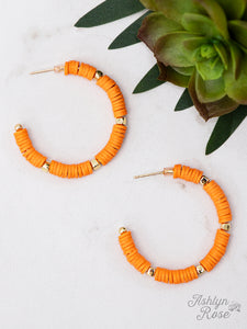 Beaded Hoop Earrings, Orange