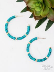 Beaded Hoop Earrings, Turquoise