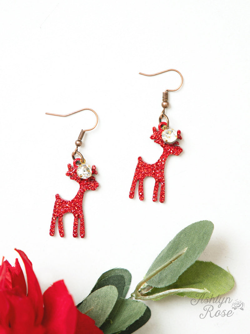Reindeer on Copper White and Red Earrings