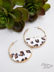 Leopard Hoop Earrings, White
