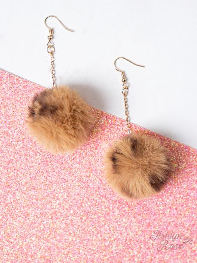 Leopard Pom Pom Earrings, Brown