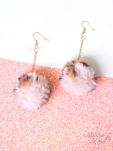 Leopard Pom Pom Earrings, Pink