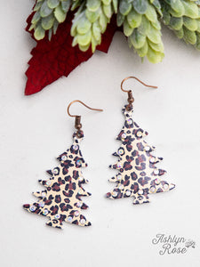 Christmas Tree Earrings with Crystals, Leopard