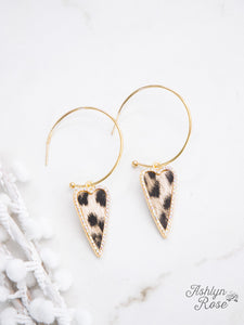 Gold Hoop Heart Earrings, Leopard
