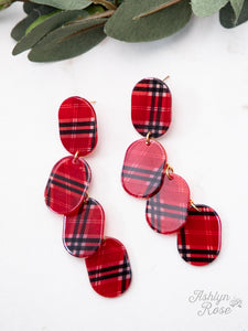 Drop Earrings, Red Plaid