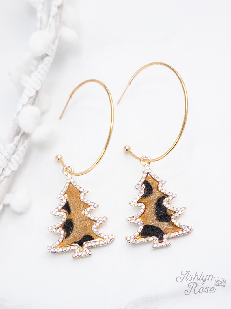 Gold Hoop Earrings with Leopard Christmas Trees