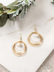 Layered Hoop Earrings, Gold and Pearl