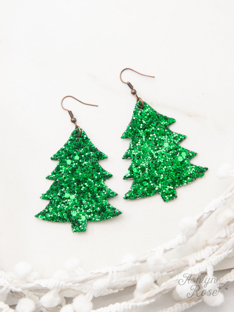 Christmas Tree Glitter Earrings, Green