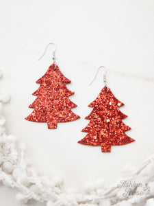 Christmas Tree Glitter Earrings, Red