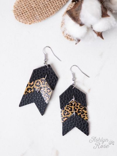 Arrows Earrings, Black and Leopard