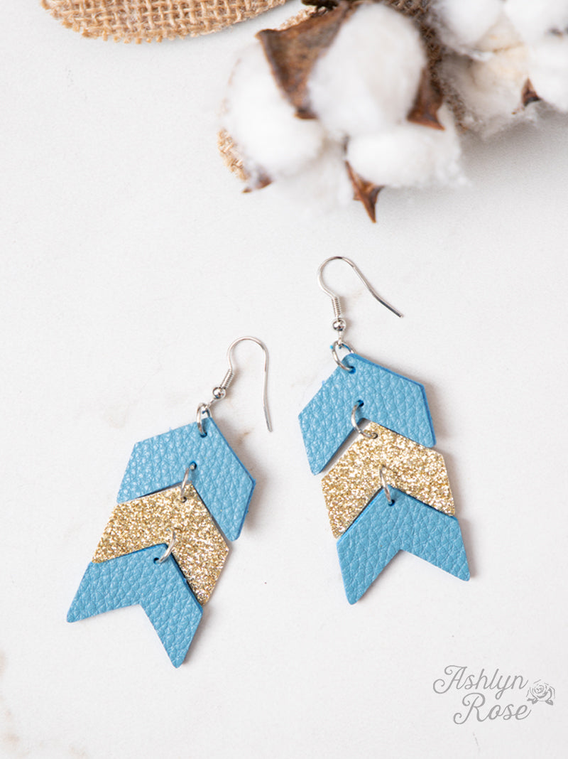 Arrow Earrings, Blue
