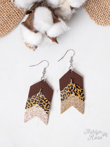 Arrow Earrings, Brown and Leopard