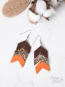 Arrow Earrings, Orange and Leopard