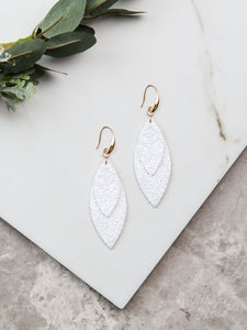 Layered Leaves Glitter Earrings, White