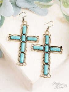 Glorious Grace Stone Cross Earrings, Turqouise