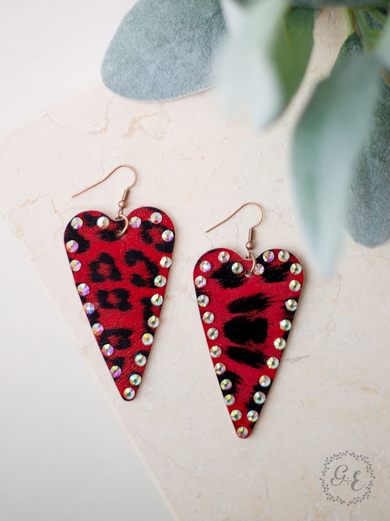 Red Leopard Heart Earrings with Crystals