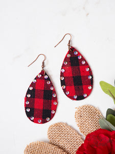 Buffalo Plaid Teardrop Earrings with Crystals