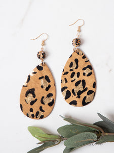 Teardrop Shimmer Leopard Earrings