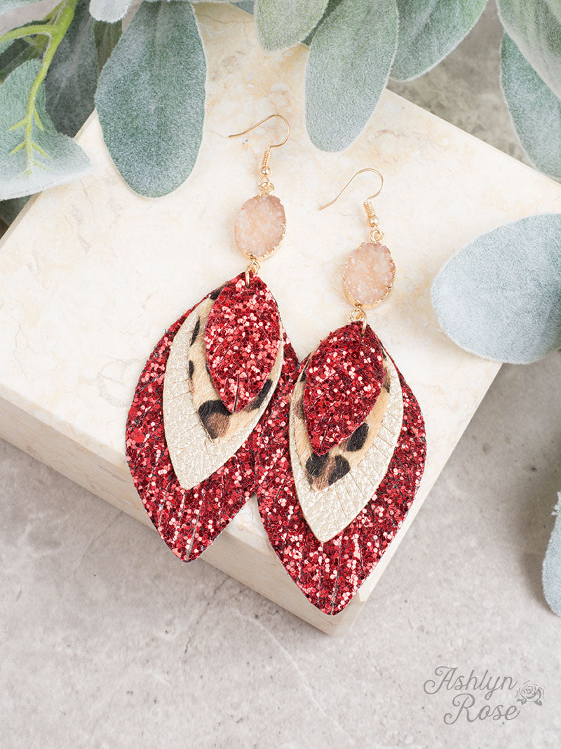 Perfect Trio Earring, Red