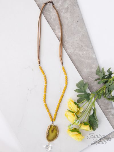 Mustard Stone Pendant & Glass Charm Necklace