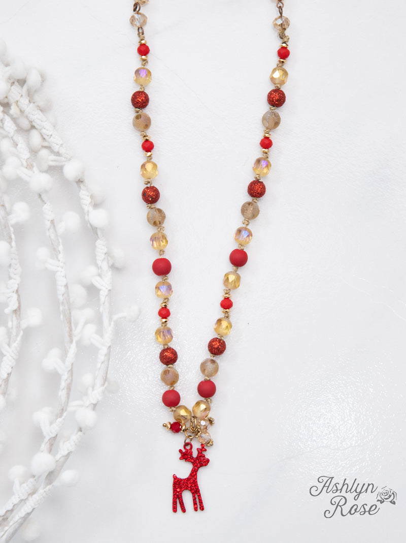 Gold Reindeer Necklace with Beads
