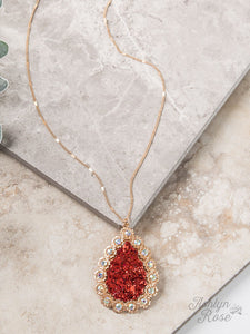 AB Flower Teardrop Pendant, Red Glitter Necklace