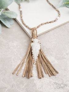 Tassel Necklace, Gold with Arrowhead