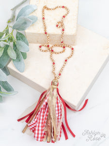 Gingham Tassel Necklace, Red