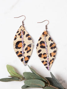 Leopard Leaf Earrings with Crystals